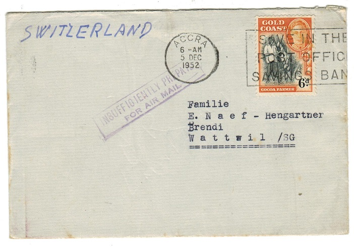 GOLD COAST - 1952 cover to Switzerland with INSUFFICIENTLY PREPAID/FOR AIR MAIL h/s.