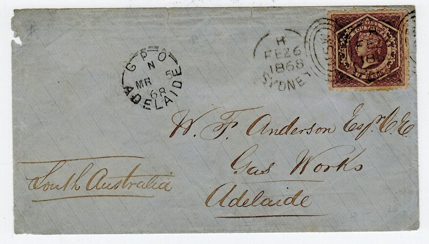 AUSTRALIA (New South Wales) - 1868 local cover with 6d used at SYDNEY.