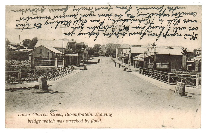 ORANGE RIVER COLONY - 1905 postcard to UK used at BLOEMFONTEIN.