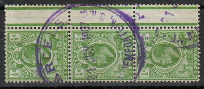 ORANGE RIVER COLONY - 1907 1/d strip of three cancelled by violet PARCLE/BLOEMFONTEIN cds.