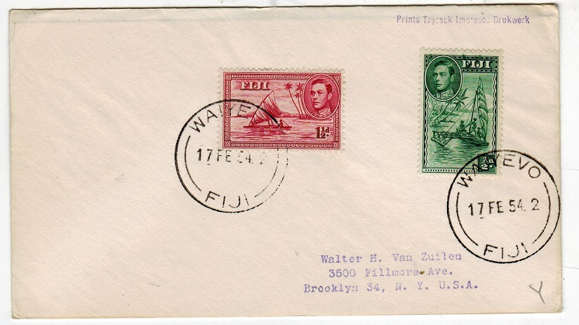 FIJI - 1954 cover to USA used at WAIYEVI.