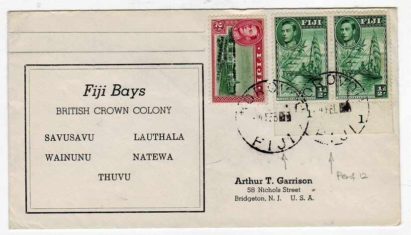 FIJI - 1953 cover to USA used at KOROVOU.