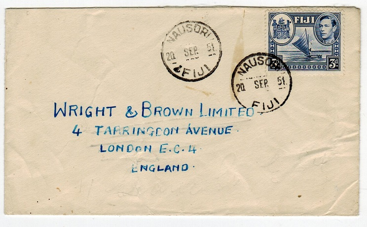 FIJI - 1951 cover to UK used at NAUSORI.