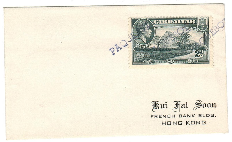 GIBRALTAR - 1943 2d rate PAQUEBOT cover to Hong Kong.