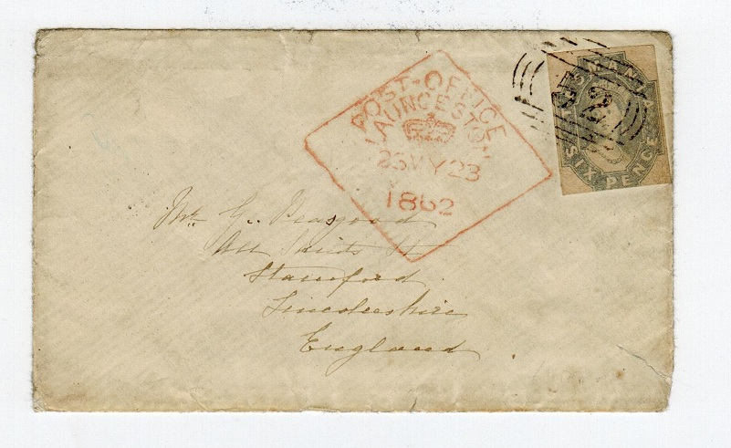 AUSTRALIA (Tasmania) - 1862 6d on cover to UK with red POST OFFICE/LAUNCESTOR cancel.