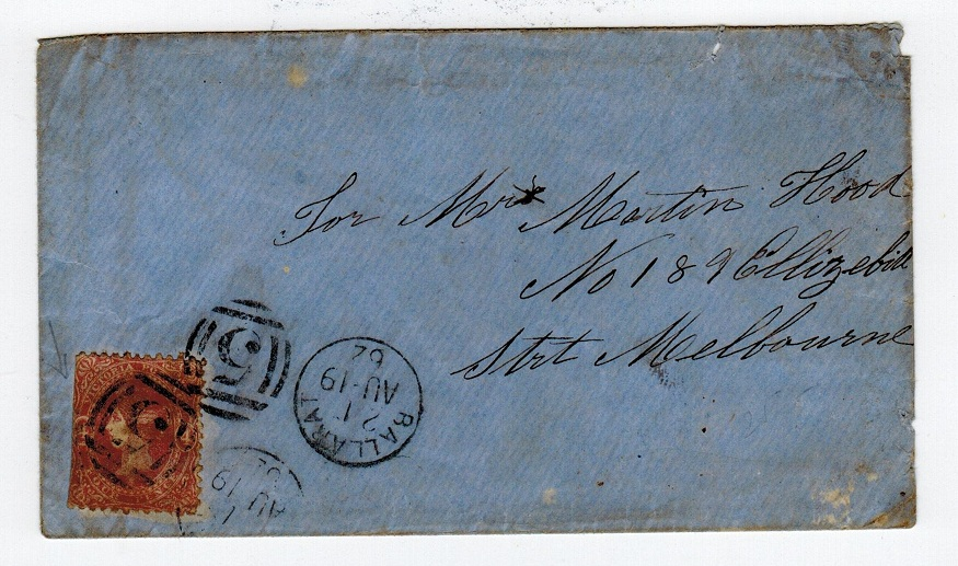 AUSTRALIA (Victoria) - 1862 4d local cover from BALLARAT.