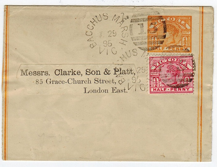 AUSTRALIA (Victoria) - 1895 1/2d PS wrapper uparted with additional 1/2d from BACCHUS MARSH.