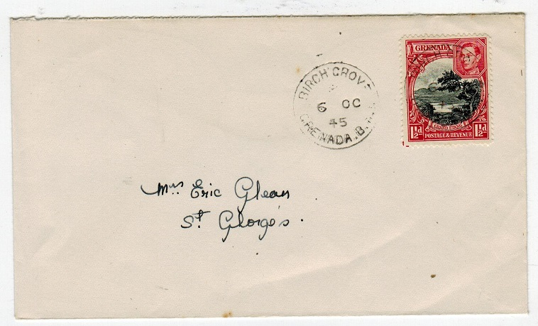 GRENADA - 1945 local cover used at BIRCH GROVE.