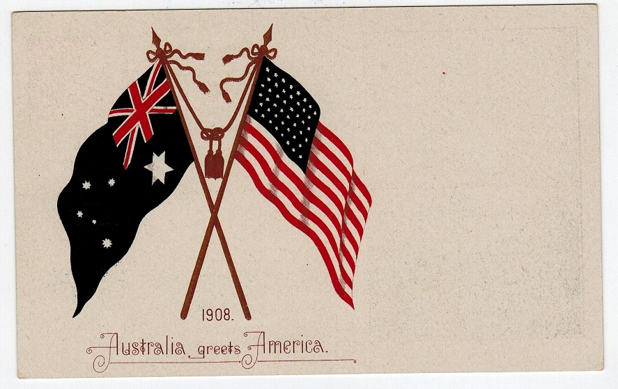 AUSTRALIA (Victoria) - 1908 1 1/2d PSC unused printed for AUSTRALIA GREETS AMERICANS.  H&G 31.