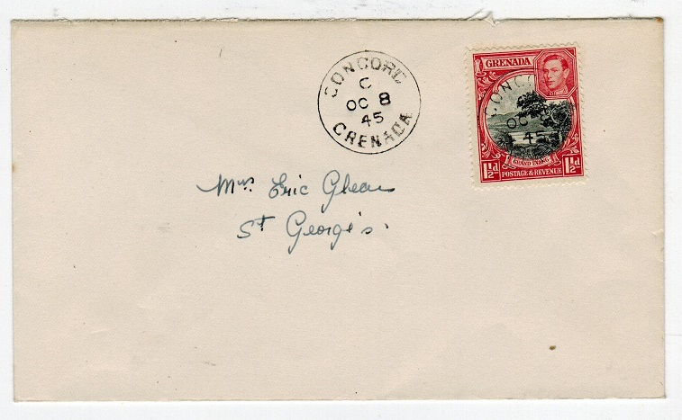 GRENADA - 1945 local cover used at CONCORD.