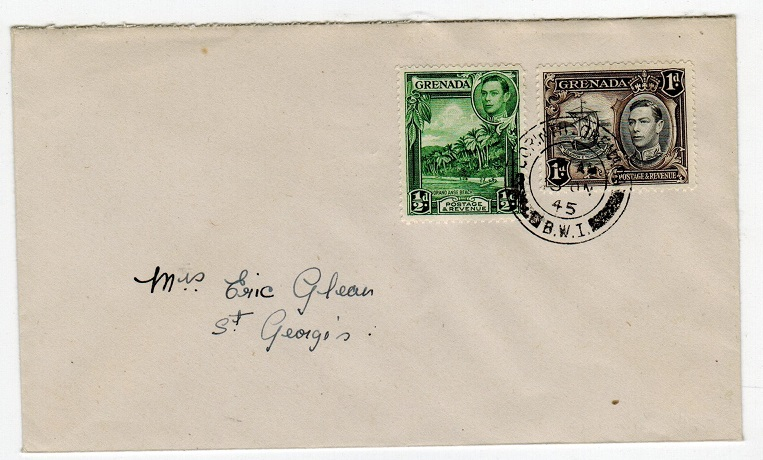 GRENADA - 1945 local cover used at CORINTH.