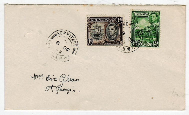 GRENADA - 1945 local cover used at HERMITAGE.