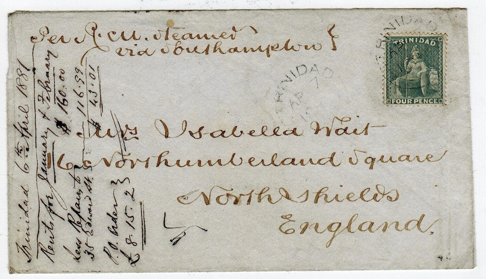 TRINIDAD AND TOBAGO - 1881 4d grey on cover to UK.