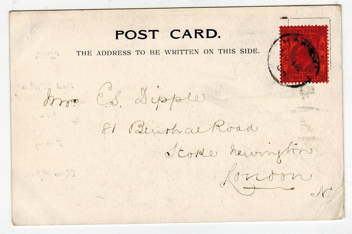 HONG KONG - 1904 postcard to UK used at HANKOW.