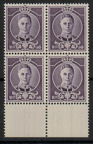 COLONIAL PROOFS - 1937 (circa) KGVI ESSAY block of four in violet without value expressed.