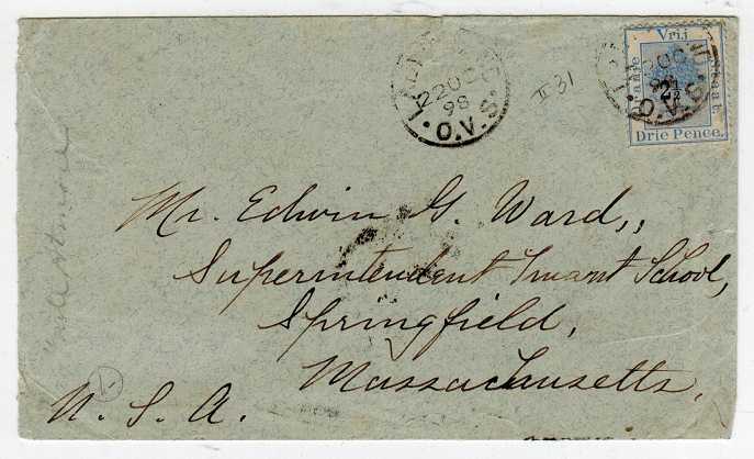 ORANGE FREE STATE - 1898 2 1/2d on 3d use on cover to USA used at LADYBRAND.