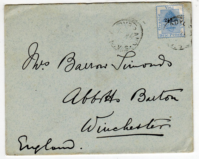 ORANGE FREE STATE - 1896 1/2d on 3d use on cover to UK used at LADYBRAND.