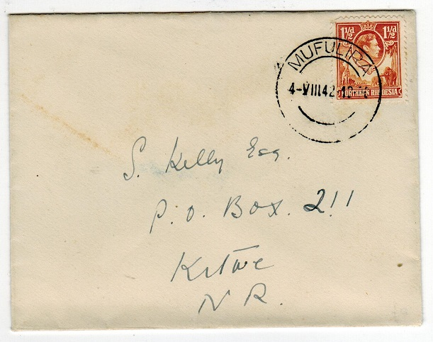 NORTHERN RHODESIA - 1942 local cover used at MUFULIRA.