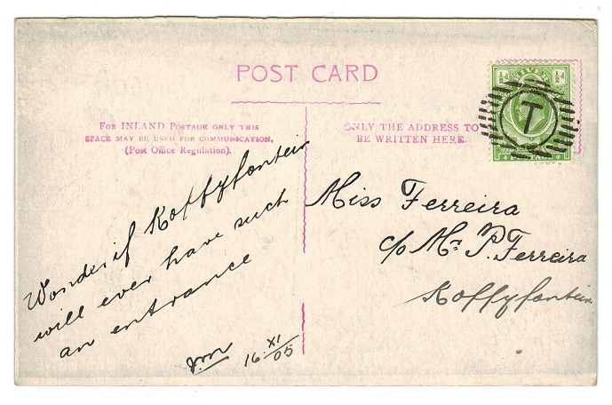 ORANGE RIVER COLONY - 1905 locally used postcard with
