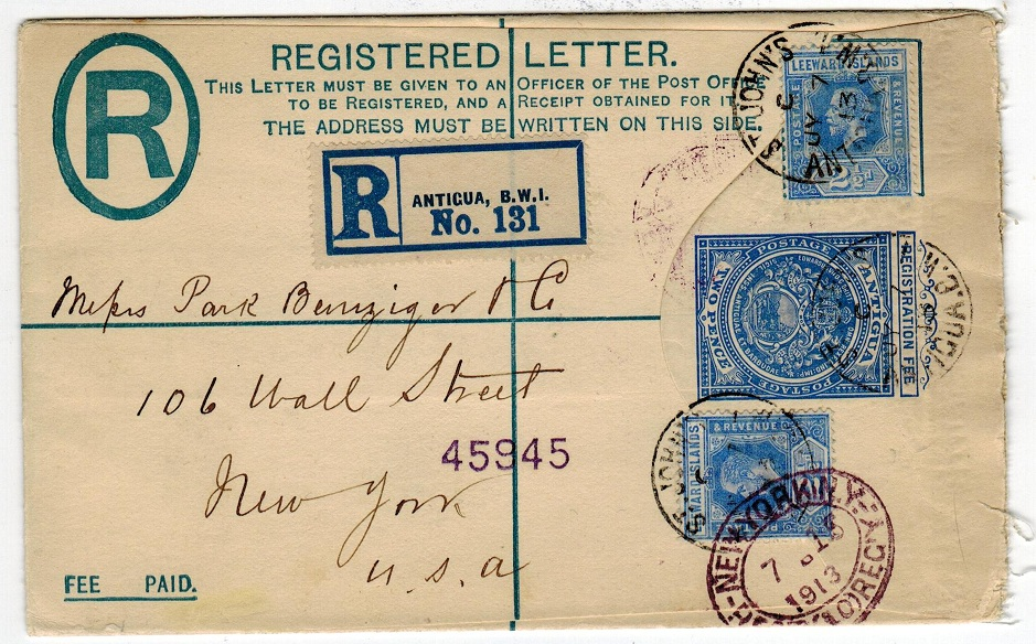 ANTIGUA - 1903 2d RPSE uprated with Leeward 2 1/2d (x2) to USA.  H&G 1.