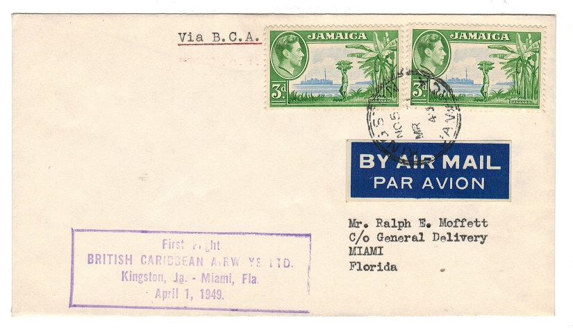 Jamaica - 1949 first flight cover to USA on British Caribbean Airways.