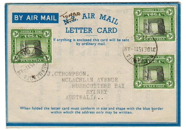 TONGA - 1951 use of NZ/AIRMAIL lettercard to Australia from NUKUALOFA.