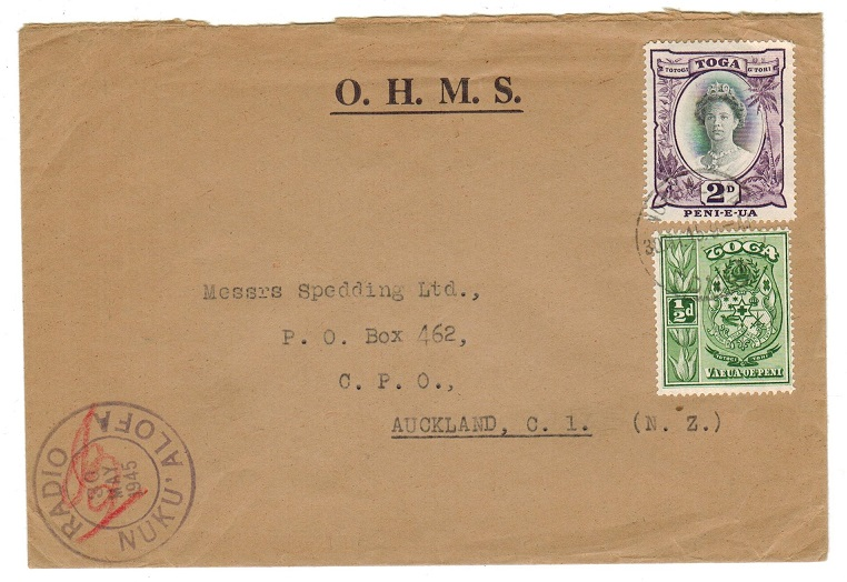 TONGA - 1945 OHMS cover use to New Zealand with RADIO/NUKU