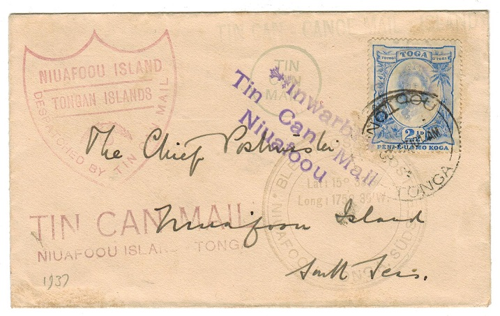TONGA - 1937 TIN CAN MAIL cover to USA.