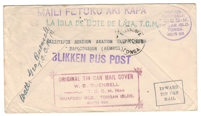 TONGA - 1936 inward TIN CAN MAIL cover from USA.