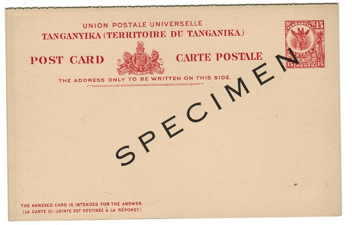 TANGANYIKA - 1923 15c+15c postal stationery reply postcard unused SPECIMEN.  H&G 2.
