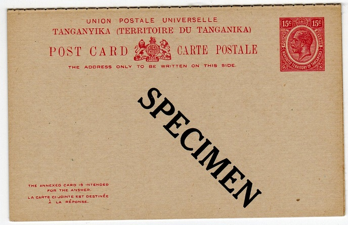 TANGANYIKA - 1927 15c+15c postal stationery reply postcard unused SPECIMEN.  H&G 4.