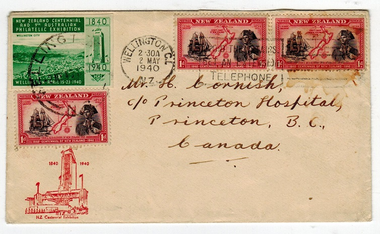 NEW ZEALAND - 1940 9th PHILATELIC EXHIBITION cover to Canada.
