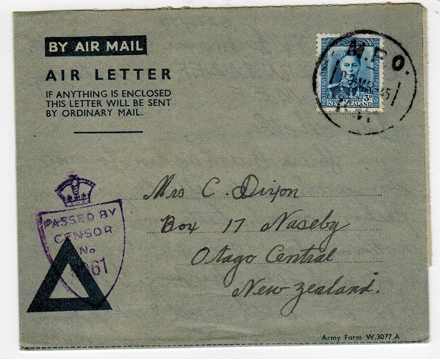 NEW ZEALAND - 1945 (blue triangle) air letter to New Zealand from MPO/KW and censored.