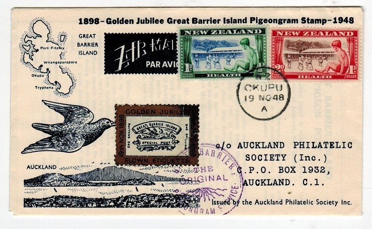 NEW ZEALAND - 1948 GREAT BARRIER/PIGEON SERVICE cover to Auckland.
