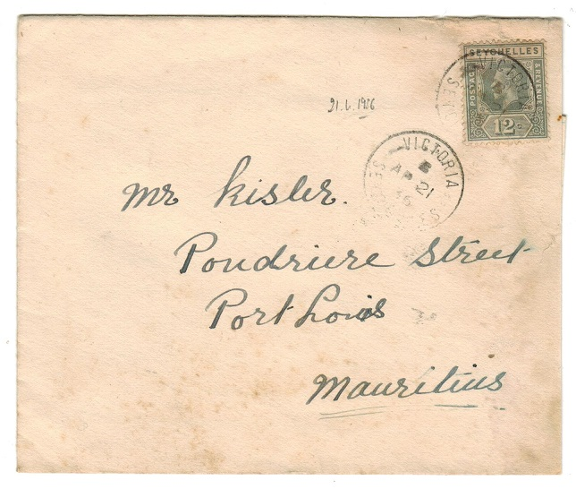SEYCHELLES - 1936 12c cover to Mauritius used at VICTORIA.