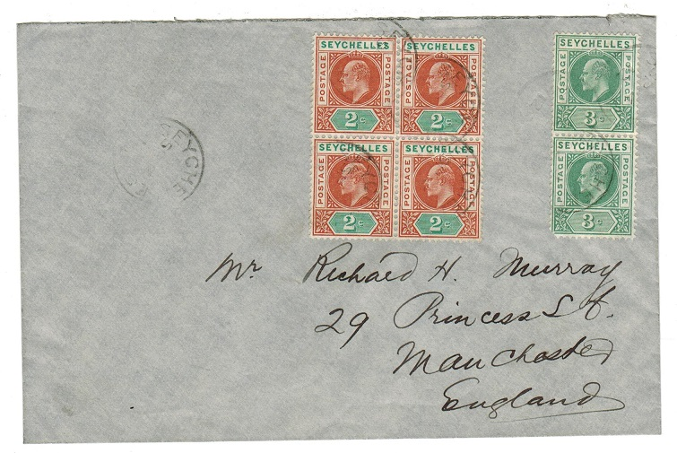 SEYCHELLES - 1912 cover to UK with 2c (x4)+ 3c (x2) Edward adhesives used at SEYCHELLES.
