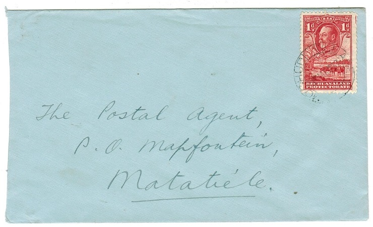 BECHUANALAND - 1937 local 1d rate cover used at MOCHUDI VILLAGE.