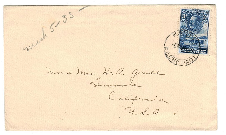 BECHUANALAND - 1935 3d rate cover to USA used at KANYE.