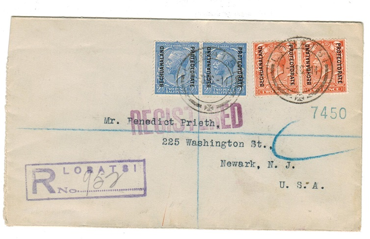 BECHUANALAND - 1914 registered cover to USA used at LOBATSI.