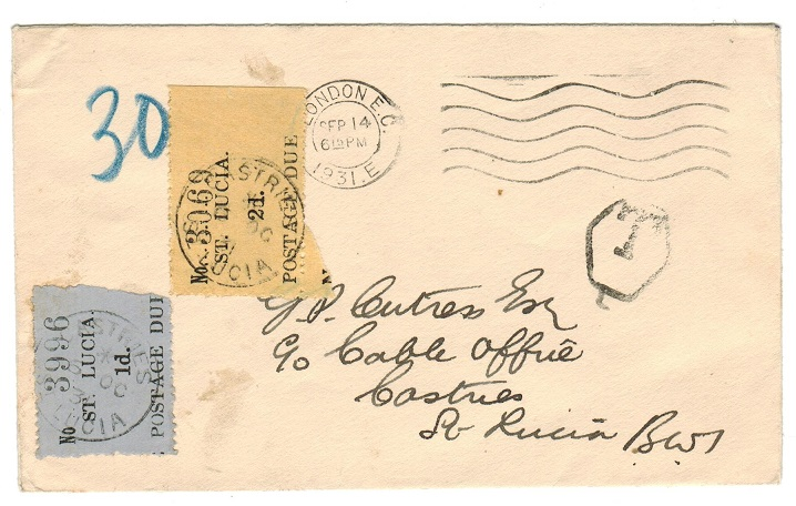 ST.LUCIA - 1931 cover with 1d+2d POSTAGE DUE use at CASTRIES.