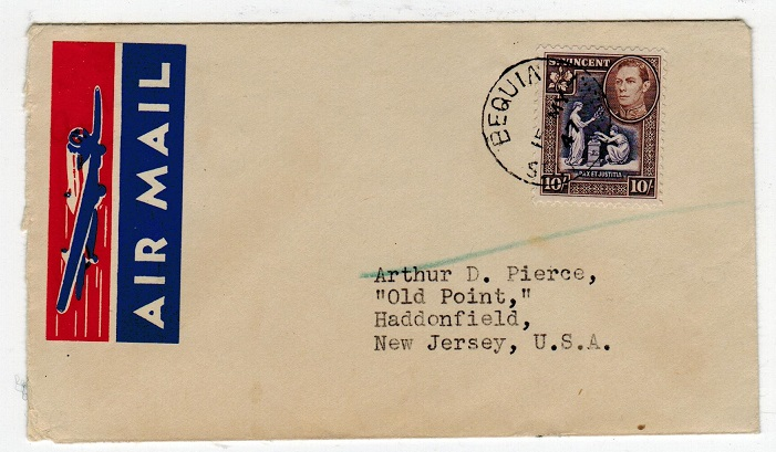 ST.VINCENT - 1947 10/- on cover to USA with nice (aircraft) air mail sticker used at BEQUIA.