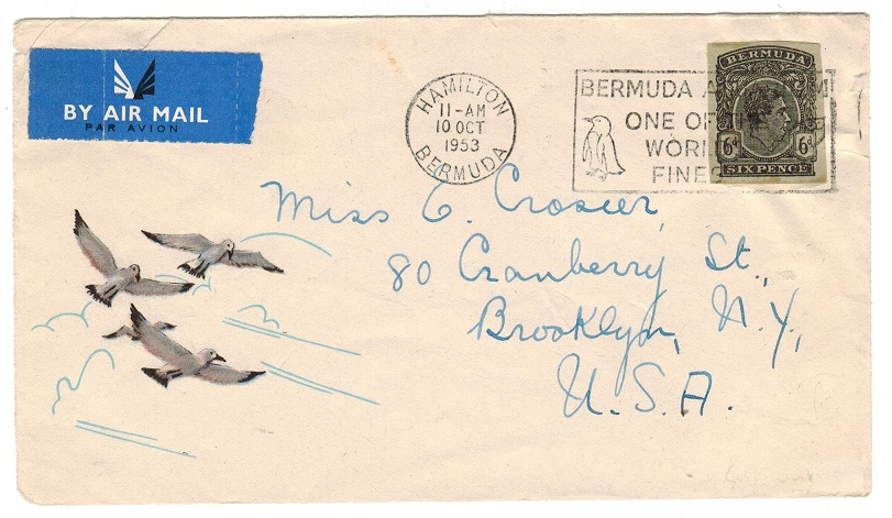BERMUDA - 1953 cover to USA with 6d stationery