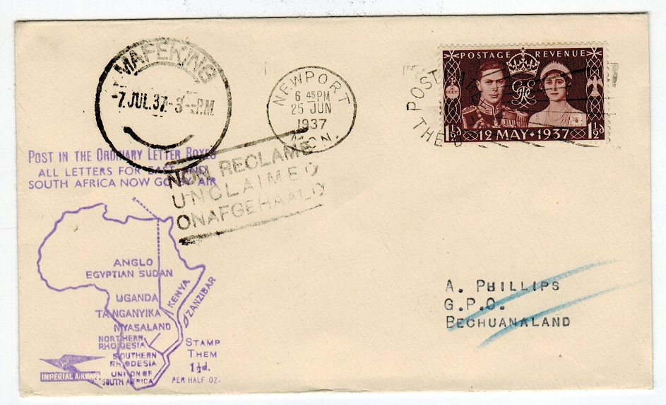 BECHUANALAND - 1937 inward cover with UNCLAIMED h/s.