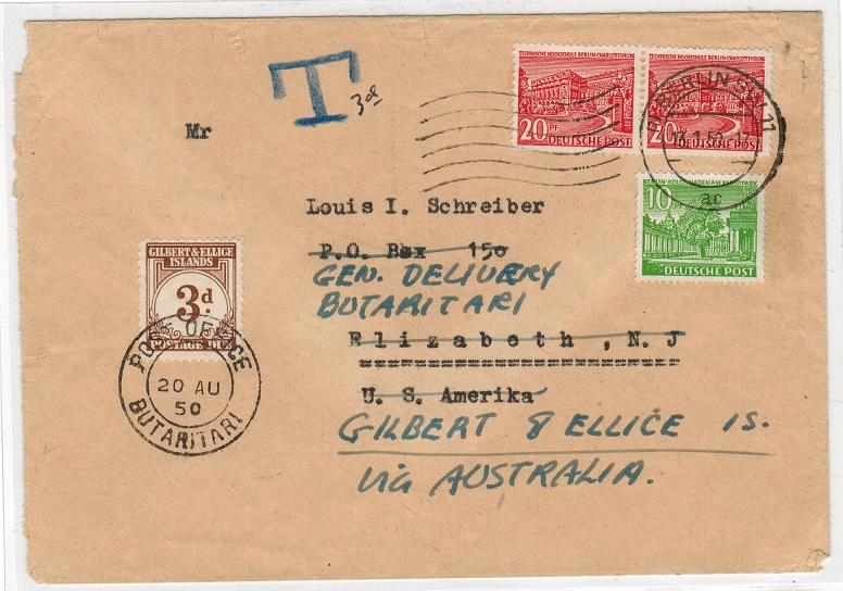 GILBERT AND ELLIS ISLANDS - 1950 inward cover from Germany with 3d
