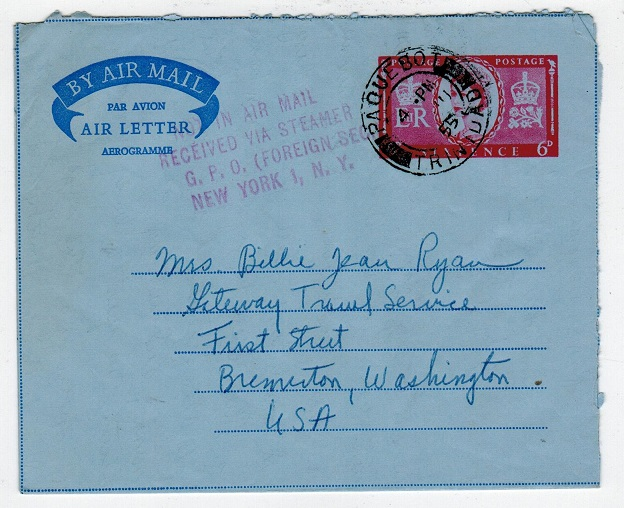 TRINIDAD AND TOBAGO - 1955 GB 6d air letter use from PAQUEBOT/TRINIDAD.