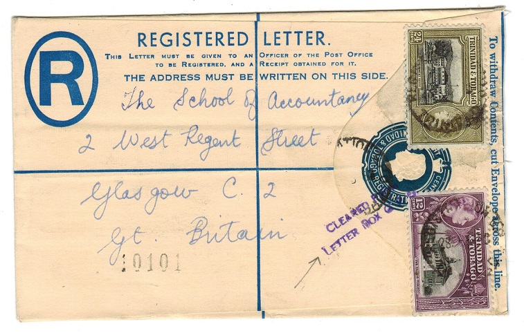 TRINIDAD AND TOBAGO - 1955 8c RPSE with CLEARED FROM/LETTER BOX GPO h/s.