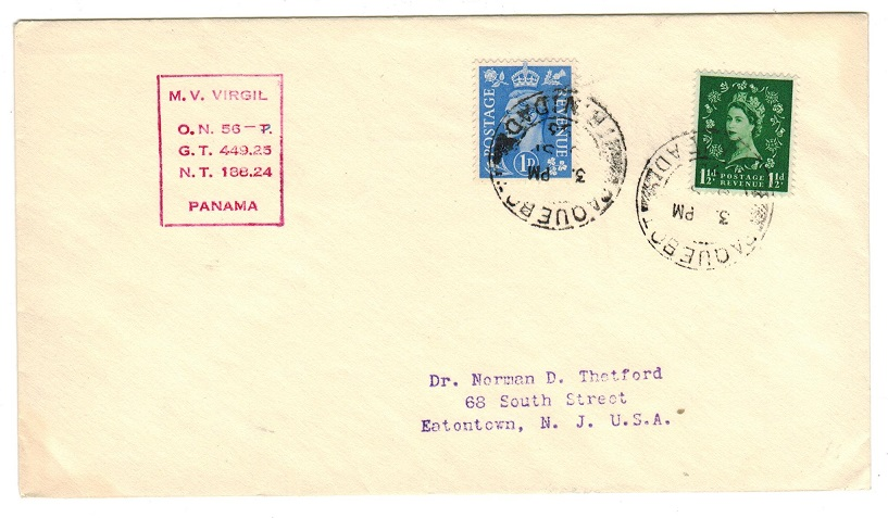 TRINIDAD AND TOBAGO - 1953 GB adhesive use on cover to USA from PAQUEBOT/TRINIDAD.