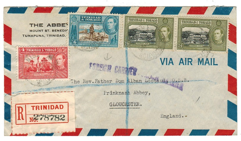 TRINIDAD AND TOBAGO - 1952 registered cover to UK with FOREIGN CARRIER h/s.