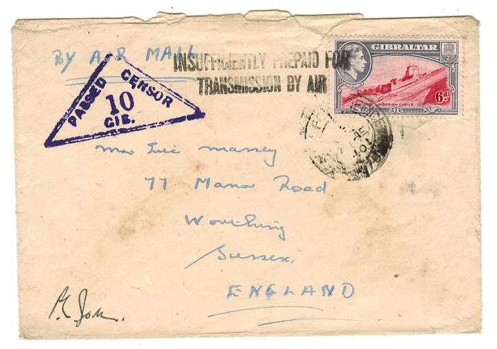 GIBRALTAR - 1940 censored FPO/475 cover to UK with INSUFFICIENTLY PREPAID h/s.