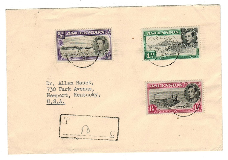 ST.HELENA - 1952 Ascension stamps used in St.Helena on cover and taxed.